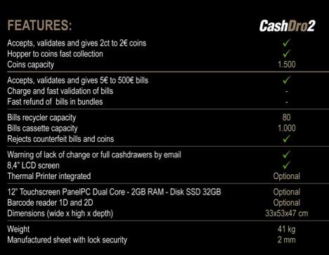Caractétristiques Monnayeur automatique CashDro 2 Caisse automatique leboncommerce.fr