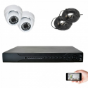 Kit vidéosurveillance 2 dômes AHD 720P 1MP 20m